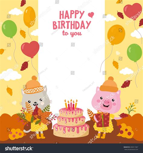 happy birthday animal stak design greeting card design cute cat pig vectores en stock