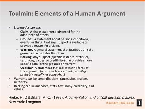 Toulmin Outline Format by Argumentation As Engineering And Vice Versa