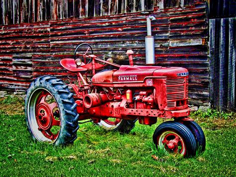 Farmhouse Style Home Plans red farmall tractor hdr style painting by elaine plesser
