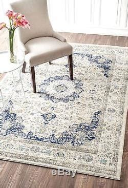 Distressed Western 9x7 Area Rugs - new traditional vintage modern distressed blue white