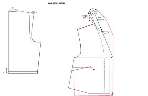 cara membuat pola baju jas kerah setali shawl collar