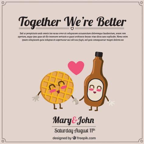Wedding Invitations Characters by Enjoyable Wedding Invitation With Lovely Characters Vector