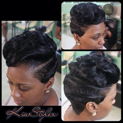black hairstyles with finger wave sides and curls on top 20 best finger waves images on pinterest hairstyles