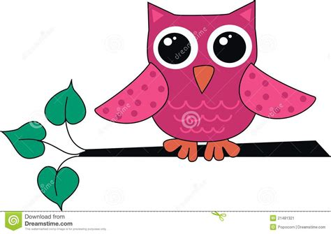 Childrens Tree Wall Stickers a cute little pink owl stock image image 21481321