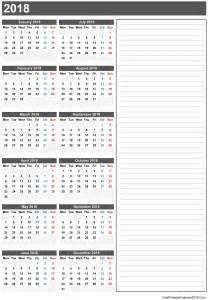 Calendar 2018 Printable With Notes Free Printable Calendar 2018