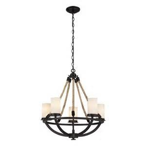 5 light chandelier landmark lighting 63041 5 rope 5 light chandelier
