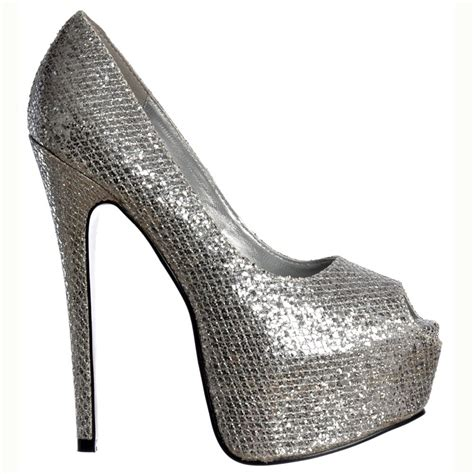 silver high heel shoe shoekandi peep toe sparkly glitter stiletto concealed