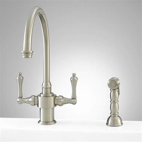 traditional kitchen faucets aiken single kitchen faucet with spray brushed nickel traditional kitchen faucets