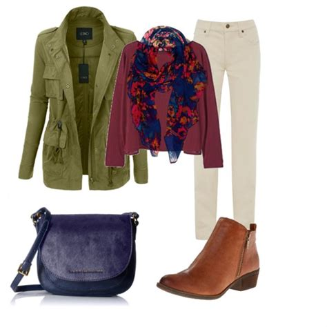 Jaket Sweater Flower Sweater Casual fall casual with navy bag floral scarf burgundy