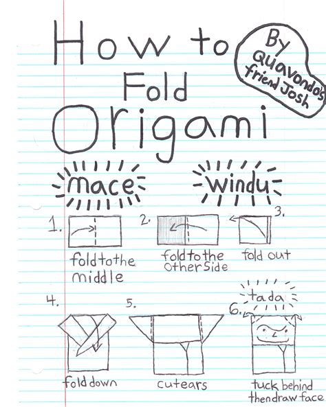 How To Fold Origami Yoda By Tom Angleberger - joshs mace windu origamiyoda
