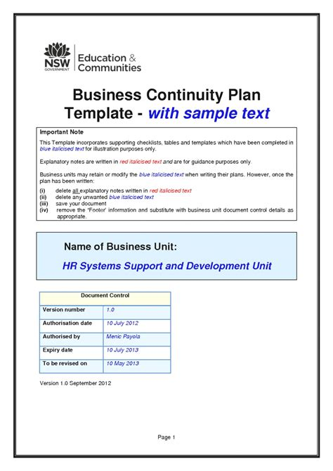 exiucu biz free business continuity plan template