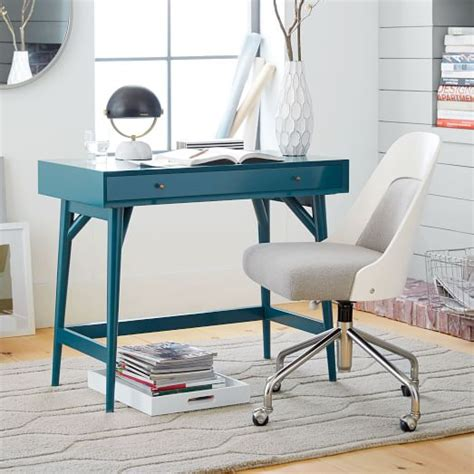 West Elm Small Desk Mid Century Mini Desk Thai Blue West Elm