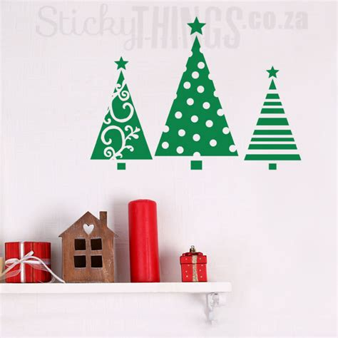 festive christmas trees wall sticker stickythings south