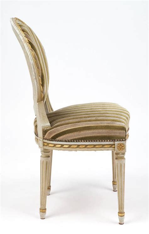 gold chairs for sale gold leaf striped velvet set of four antique louis xvi