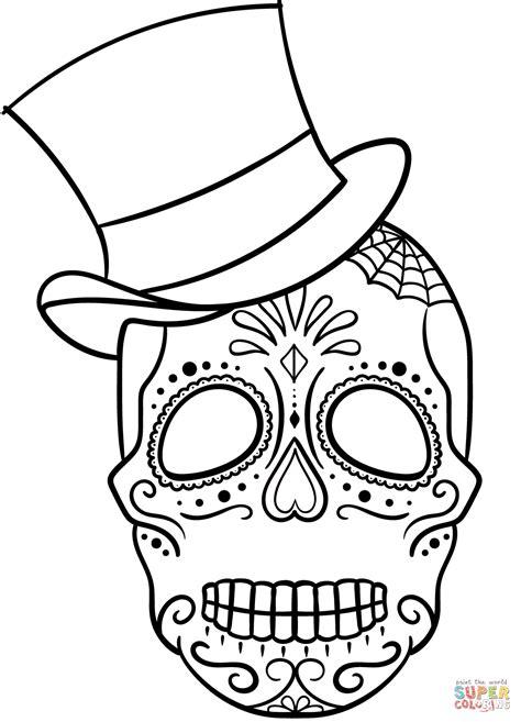 sugar skull coloring page sugar skull with top hat coloring page free printable