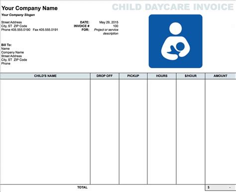 free daycare child invoice template excel pdf word