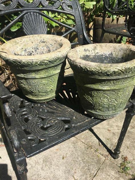 pair  stone plant pots  markyate hertfordshire