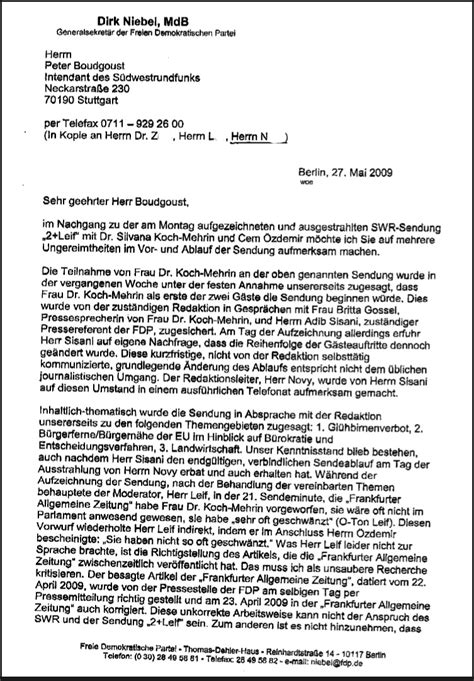 Wie Schreibt Brief Beispiel Der Niebel Brief Oder Was Die Fdp Kritischen Fragen An Koch Mehrin H 228 Lt Ruhrbarone