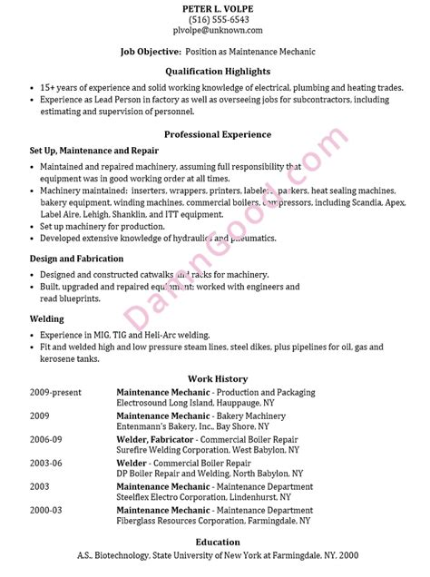 Resume Sle Maintenance Mechanic Maintenance Mechanic Resume Template
