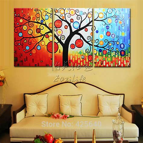 aliexpress com buy unframed 3 sets abstract tree modern canvas wall art home wall decor hd aliexpress com buy 3 piece hand painted palette knife