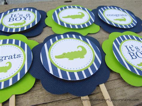Alligator Baby Shower by Alligator Baby Shower Cupcake Toppers