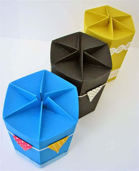 Self Closing Origami Box - hexagonal self closing box papercraft button boxes and