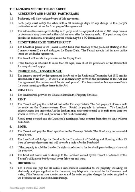 personal leasing  zealand legal documents agreements forms  contract templates