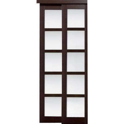 Sliding Closet Doors Home Depot Truporte 48 In X 80 In 2240 Series Espresso 5 Lite Composite Universal Grand Sliding Door