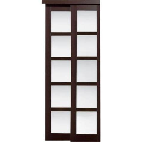 Closet Doors Sliding Home Depot Truporte 48 In X 80 In 2240 Series Espresso 5 Lite Composite Universal Grand Sliding Door