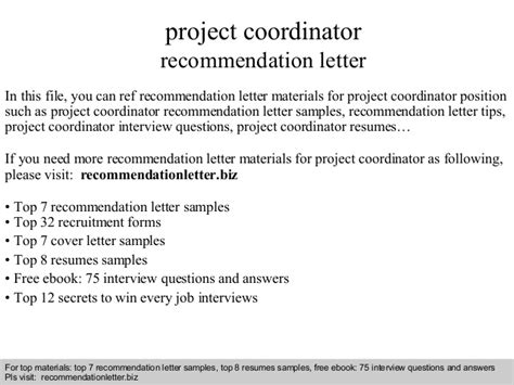Recommendation Letter For Coordinator Project Coordinator Recommendation Letter