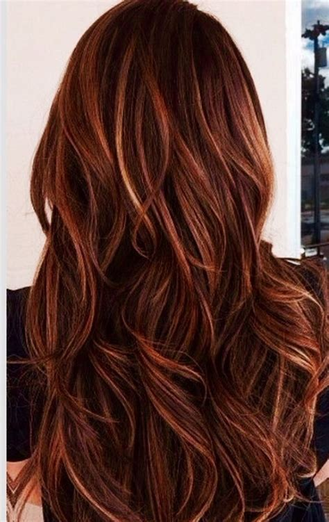 burgandy caramel and brown highlights and caramel highlights in dark brown hair red and caramel