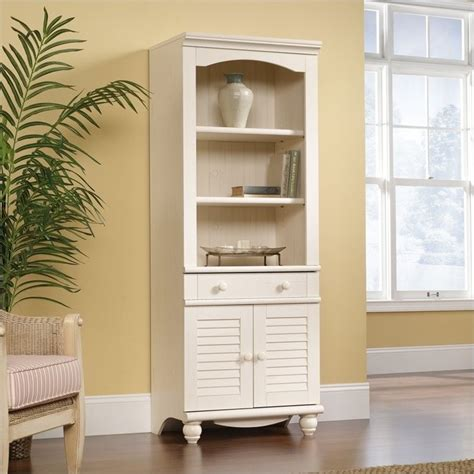 sauder harbor view bookcase with doors antique white library with doors in antiqued white 158082