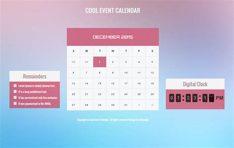 Cool Html Templates by Cool Event Calendar Responsive Widget Template W3layouts