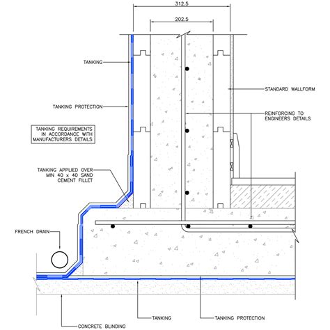 section technical drawing basement section becowallform