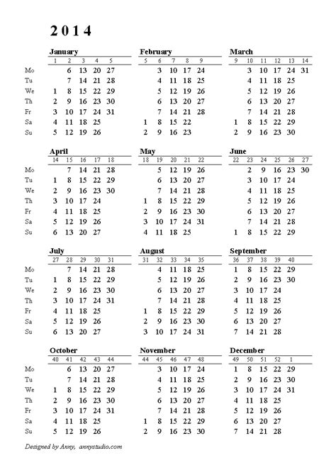 2014 Calendar With Week Numbers Free Printable Pdf 2011 2012 Calendar 1 Month On 1 Page