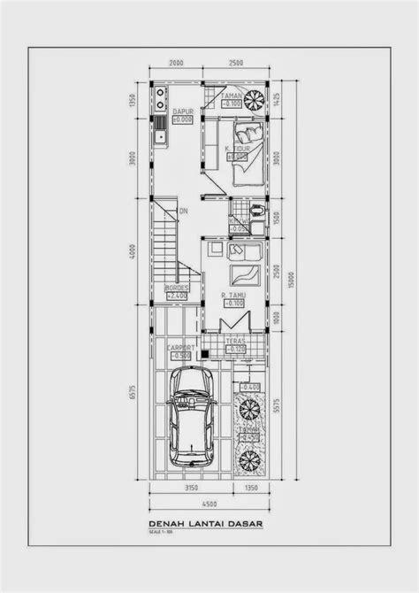 layout rumah lebar 5 meter desain rumah minimalis lebar 4 meter