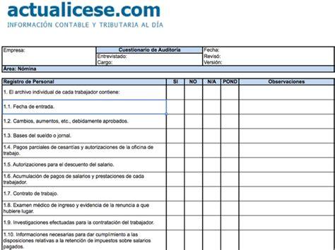 Calendario Tributario 2017 Nicaragua Formato Cuestionario De Auditor 237 A Para 193 Rea De N 243 Mina
