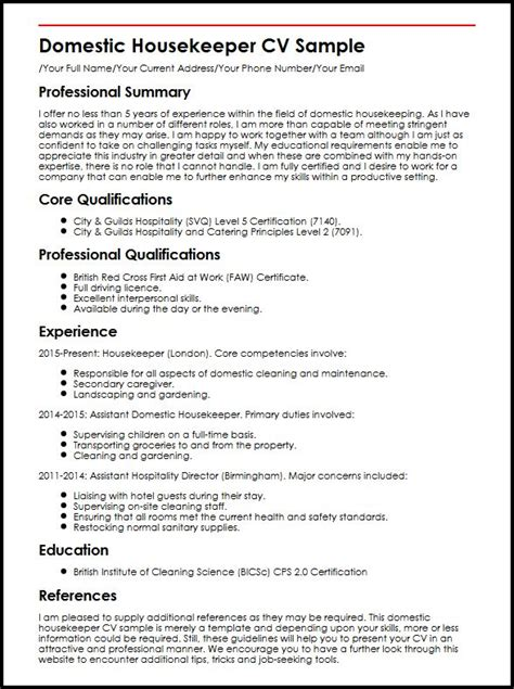 Curriculum Vitae Sles For Housekeeping domestic housekeeper cv sle myperfectcv