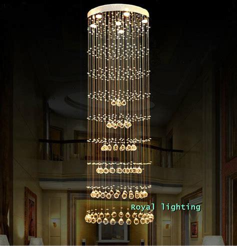Long Hanging Chandeliers H1 5 3m Luxury Long Large Spiral Stairway Crystal Pendant