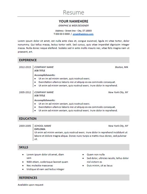 simple resume sle docx nakameguro classic resume template