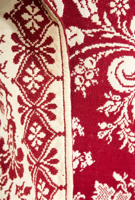 jacquard coverlet red and white jacquard coverlet