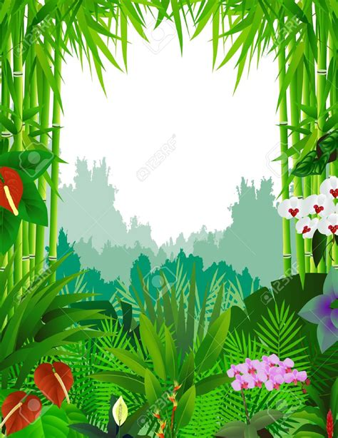 jungle clip background clipart tropical rainforest pencil and in