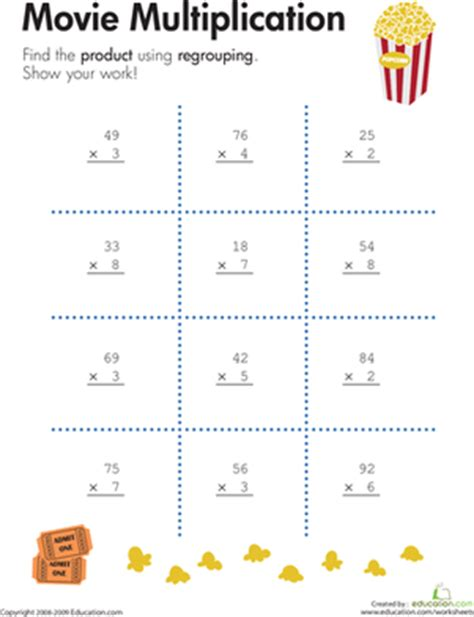 Free Printable 2 Digit By 1 Digit Multiplication Worksheets by 2 Digit By 1 Digit Multiplication Worksheet Education