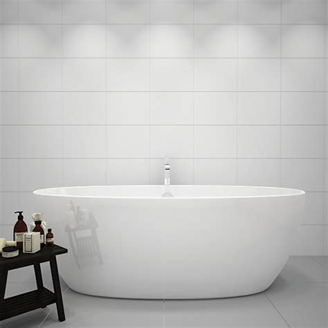 White Ceramic Bathroom Tile by Wickes White Gloss Ceramic Tile 360 X 275mm Wickes Co Uk
