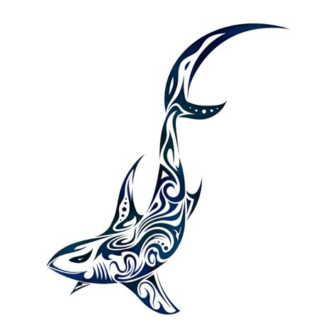 tribal shark in blue color tattoo design by dessins