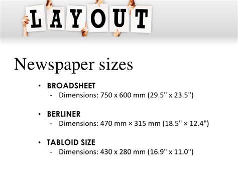 newspaper layout measurements newspaper layouting