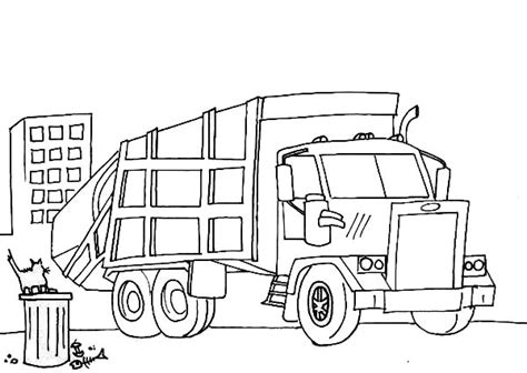 coloring page of trash truck garbage truck coloring pages sketch coloring page