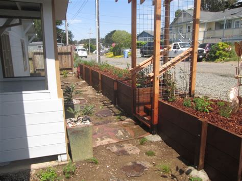 local fsc redwood pergola and retaining wall lush planet