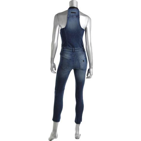 Jumpsuit Denim Zipper 2 guess 6558 womens blue racerback exposed front zipper