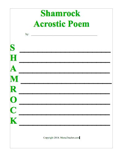 shamrock acrostic poem template mama teaches